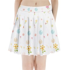 Flower Floral Star Balloon Bubble Pleated Mini Skirt
