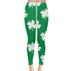 Flower Green Shamrock White Leggings