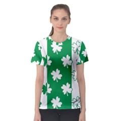 Flower Green Shamrock White Women s Sport Mesh Tee