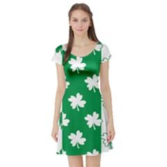 Flower Green Shamrock White Short Sleeve Skater Dress