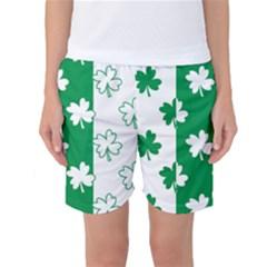 Flower Green Shamrock White Women s Basketball Shorts