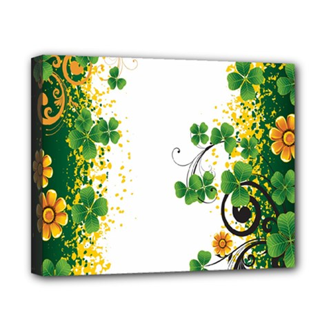 Flower Shamrock Green Gold Canvas 10  x 8