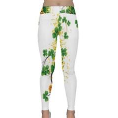 Flower Shamrock Green Gold Classic Yoga Leggings