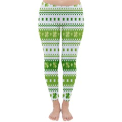 Flower Floral Green Shamrock Classic Winter Leggings