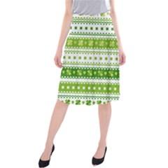 Flower Floral Green Shamrock Midi Beach Skirt