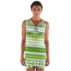 Flower Floral Green Shamrock Wrap Front Bodycon Dress
