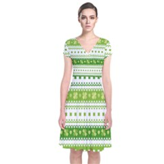Flower Floral Green Shamrock Short Sleeve Front Wrap Dress