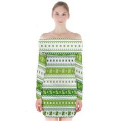 Flower Floral Green Shamrock Long Sleeve Off Shoulder Dress