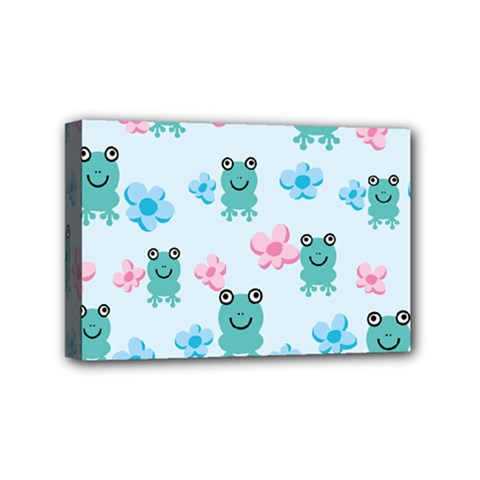 Frog Green Pink Flower Mini Canvas 6  x 4