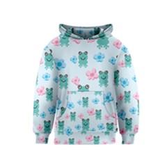 Frog Green Pink Flower Kids  Pullover Hoodie