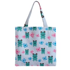 Frog Green Pink Flower Zipper Grocery Tote Bag
