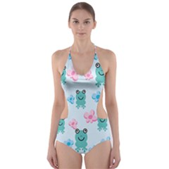 Frog Green Pink Flower Cut-Out One Piece Swimsuit
