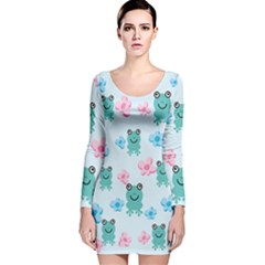 Frog Green Pink Flower Long Sleeve Velvet Bodycon Dress