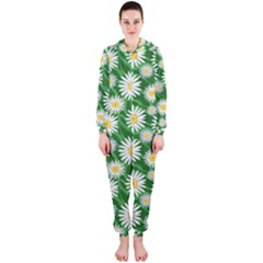 Flower Sunflower Yellow Green Leaf White Hooded Jumpsuit (Ladies)