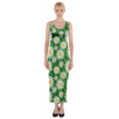Flower Sunflower Yellow Green Leaf White Fitted Maxi Dress