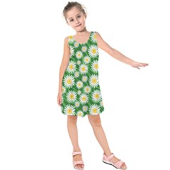 Flower Sunflower Yellow Green Leaf White Kids  Sleeveless Dress