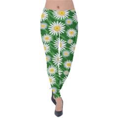 Flower Sunflower Yellow Green Leaf White Velvet Leggings