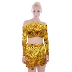 Gold Off Shoulder Top With Skirt Set