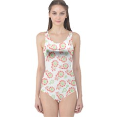 Flower Floral Red Star Sunflower One Piece Swimsuit