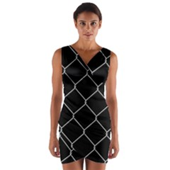 Iron Wire White Black Wrap Front Bodycon Dress