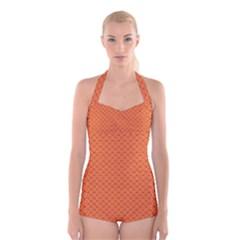 Heart Orange Love Boyleg Halter Swimsuit