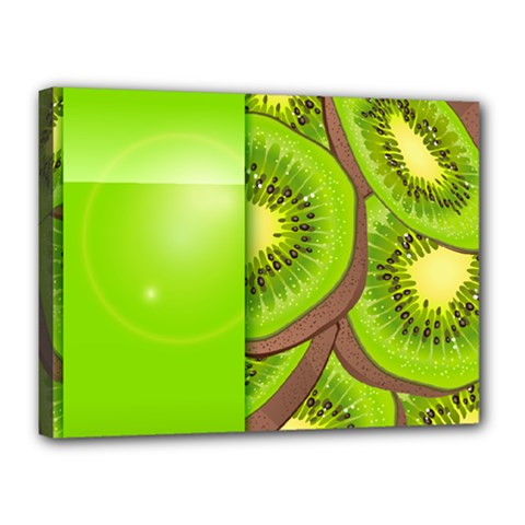 Fruit Slice Kiwi Green Canvas 16  x 12