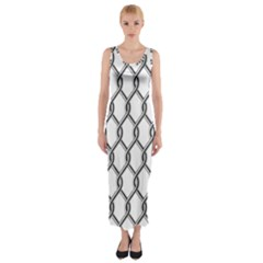 Iron Wire Black White Fitted Maxi Dress