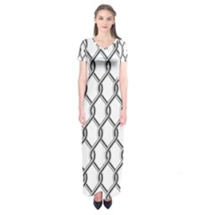 Iron Wire Black White Short Sleeve Maxi Dress