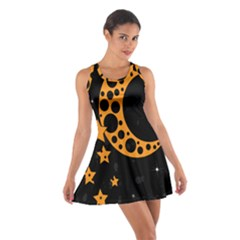 Moon Star Space Orange Black Light Night Circle Polka Cotton Racerback Dress