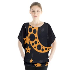 Moon Star Space Orange Black Light Night Circle Polka Blouse