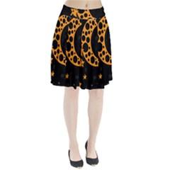 Moon Star Space Orange Black Light Night Circle Polka Pleated Skirt