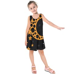 Moon Star Space Orange Black Light Night Circle Polka Kids  Sleeveless Dress