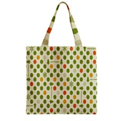 Merry Christmas Polka Dot Circle Snow Tree Green Orange Red Gray Zipper Grocery Tote Bag