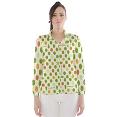Merry Christmas Polka Dot Circle Snow Tree Green Orange Red Gray Wind Breaker (Women)