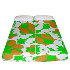 Graphic Floral Seamless Pattern Mosaic Fitted Sheet (Queen Size)