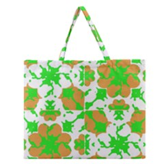 Graphic Floral Seamless Pattern Mosaic Zipper Large Tote Bag
