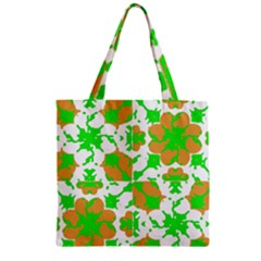 Graphic Floral Seamless Pattern Mosaic Zipper Grocery Tote Bag