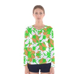 Graphic Floral Seamless Pattern Mosaic Women s Long Sleeve Tee