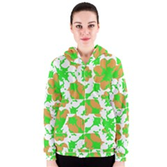 Graphic Floral Seamless Pattern Mosaic Women s Zipper Hoodie
