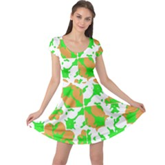 Graphic Floral Seamless Pattern Mosaic Cap Sleeve Dresses