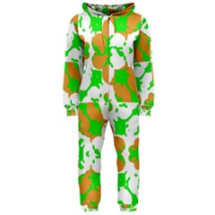 Graphic Floral Seamless Pattern Mosaic Hooded Jumpsuit (Ladies)