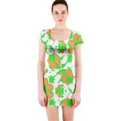 Graphic Floral Seamless Pattern Mosaic Short Sleeve Bodycon Dress