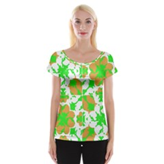 Graphic Floral Seamless Pattern Mosaic Women s Cap Sleeve Top