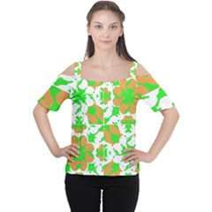 Graphic Floral Seamless Pattern Mosaic Women s Cutout Shoulder Tee