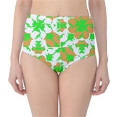 Graphic Floral Seamless Pattern Mosaic High-Waist Bikini Bottoms