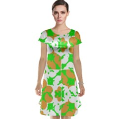 Graphic Floral Seamless Pattern Mosaic Cap Sleeve Nightdress