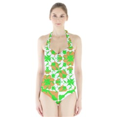 Graphic Floral Seamless Pattern Mosaic Halter Swimsuit