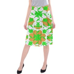 Graphic Floral Seamless Pattern Mosaic Midi Beach Skirt