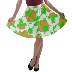 Graphic Floral Seamless Pattern Mosaic A-line Skater Skirt