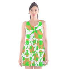 Graphic Floral Seamless Pattern Mosaic Scoop Neck Skater Dress